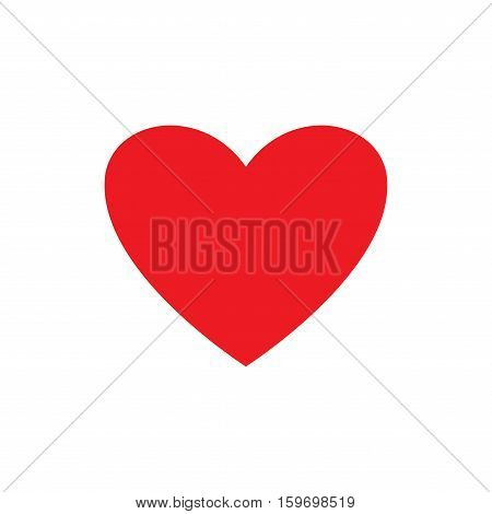Heart isolated. Romantic love red sign on white background. Colorful symbol of valentine day and love. Template for t shirt apparel card poster. Design element of valentine day. Vector illustration