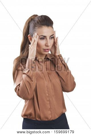 Isolated portrait of a woman wearing a brown blouse who is stressed and having a headache