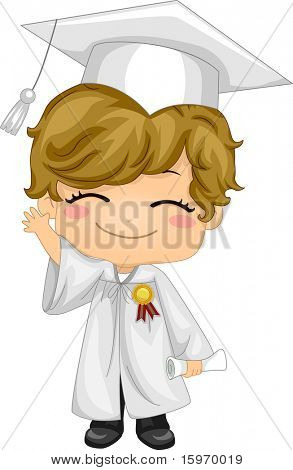 Illustration of a Kid Waving and Wearing Graduation Attire