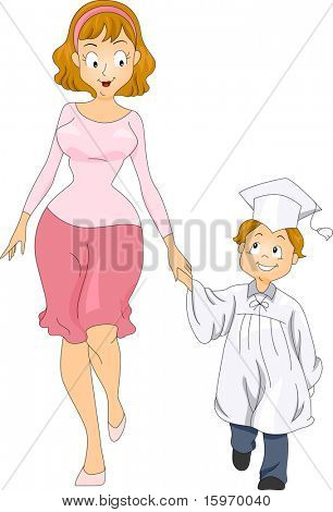 Illustration of a Mother Accompanying Her Little Graduate