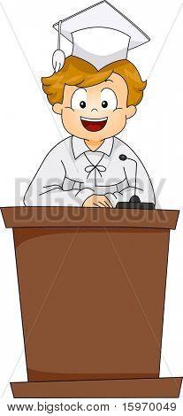 Illustration of a Kid Giving a Graduation Speech