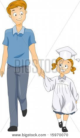 Illustration of a Father Accompanying His Little Graduate