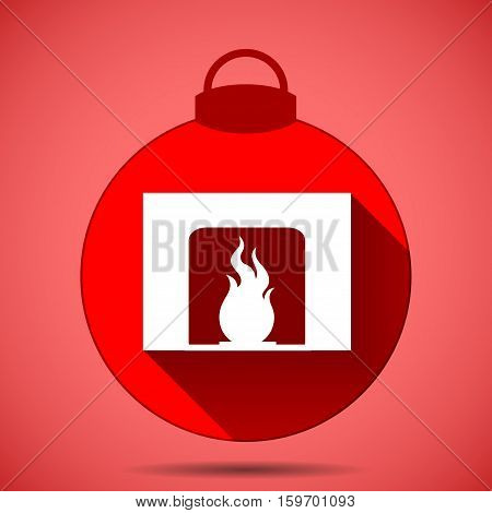 Christmas Icon With The Silhouette Of A Fireplace On  Pink Background