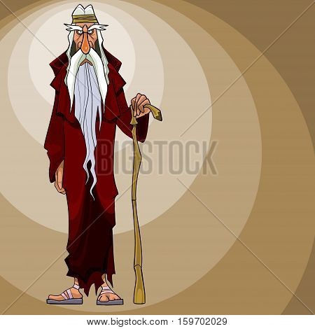cartoon gloomy gray-haired man stands with a stick
