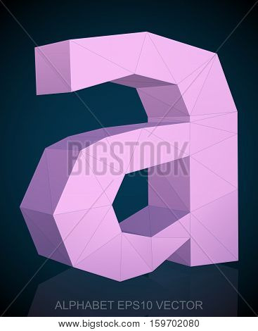 Abstract Pink 3D polygonal lowercase letter a with reflection. Low poly alphabet collection. EPS 10 vector illustration.