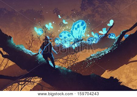 man looking at giant blue butterflies resting on tree branch, illustration painting
