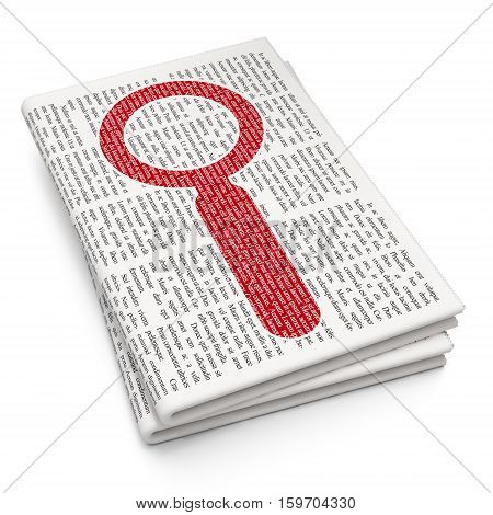 Data concept: Pixelated red Search icon on Newspaper background, 3D rendering