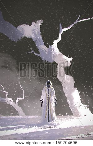 the white cloak standing in winter scenery with white trees, illustration painting