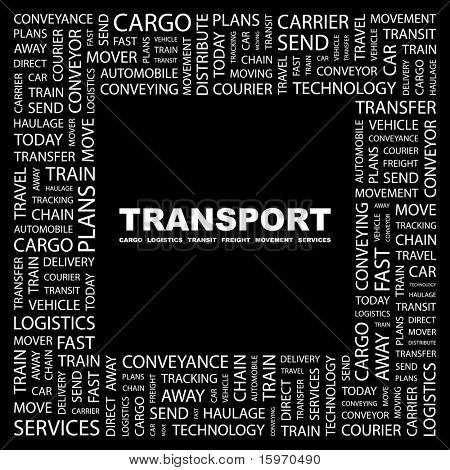TRANSPORT. Word collage on black background. Vector illustration. Illustration with different association terms.