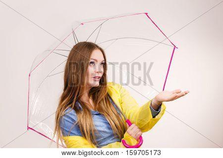 Woman In Rainproof Coat With Umbrella. Forecasting