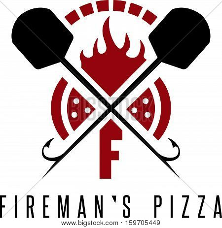Fireman's Pizza Vector Concept With Oven And Peels