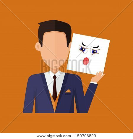 Man character avatar vector. Flat style. Male portrait with indignation, amazement, shame, frustration, irritation, anger, emotional mask. Illustration for identity in Internet, mood concepts icons