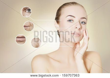 woman face with graphic circles with photo of old skin