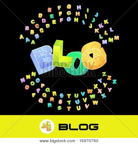 BLOG. Vector 3d illustration with colored alphabet.