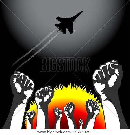 Vector War airplane bombarding ground, people resist