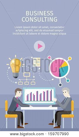 Business consulting concept. flat style. Expert provides advice and analyzes the financial results of the client. Bulb, network, diagram icons. Illustration for consulting company, career courses ad