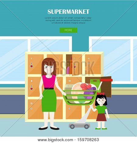 Supermarket vector web banner in flat style. Woman and child characters standing near lockers after shopping in grocery shop. Illustration for stores and retail companies web page design.