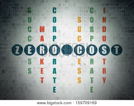 Finance concept: Painted blue word Zero cost in solving Crossword Puzzle on Digital Data Paper background
