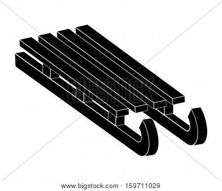 Sled, Wooden Sledge Silhouette, Outline Vector Symbol Icon Design.