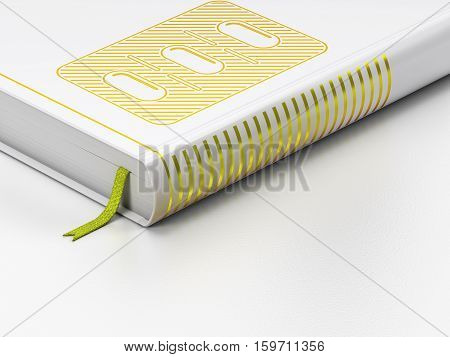 Medicine concept: closed book with Gold Pills Blister icon on floor, white background, 3D rendering