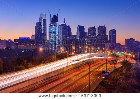 Philadelphia, Pennsylvania, USA Skyline over I-76.