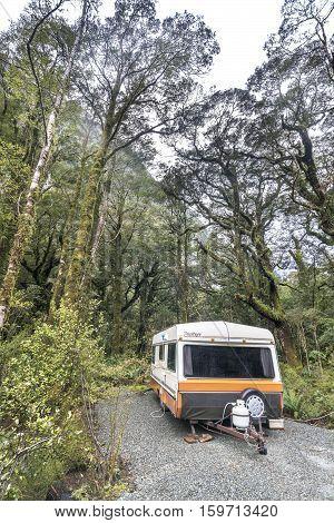 MILFORD SOUND NEW ZEALAND - SEPT 04 2016: Motorhome park at Milford Sound Campsite New Zealand.
