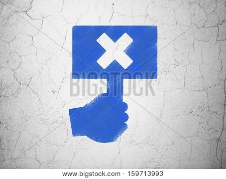 Political concept: Blue Protest on textured concrete wall background