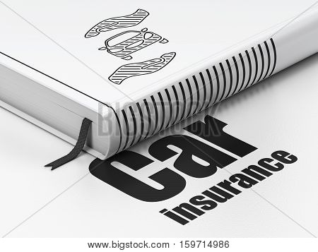 Insurance concept: closed book with Black Car And Palm icon and text Car Insurance on floor, white background, 3D rendering