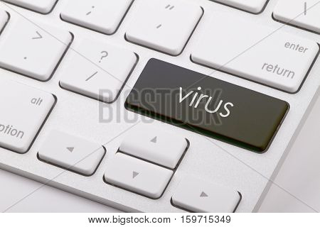 Virus word written on computer keyboard .