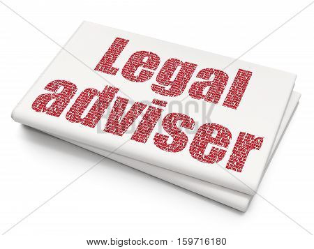 Law concept: Pixelated red text Legal Adviser on Blank Newspaper background, 3D rendering