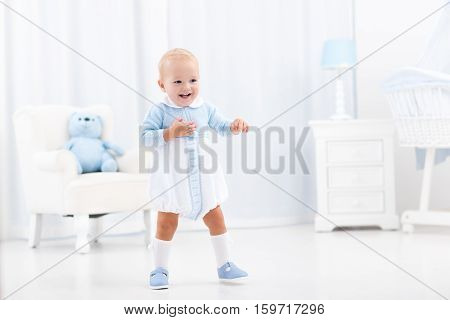 First Steps Of Baby Boy Learning To Walk