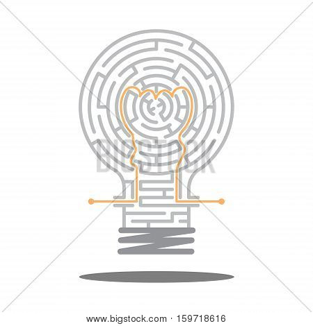 creative maze idea game, the maze in light bulb, labyrinth, entry and exit, vector illustration, a way, great idea