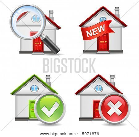 real estate icons set 1 - search, new, yes, no