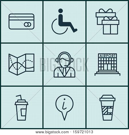 Set Of 9 Travel Icons. Can Be Used For Web, Mobile, UI And Infographic Design. Includes Elements Such As Gift, Disabled, Road And More.
