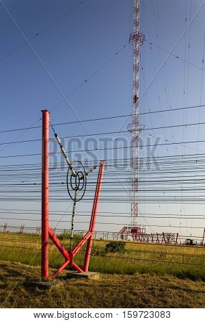 Communication Wires At Radio Transmitter Tower Liblice In Czech Republic