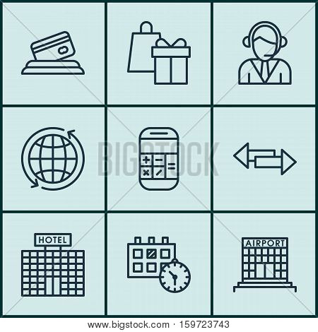 Set Of 9 Transportation Icons. Can Be Used For Web, Mobile, UI And Infographic Design. Includes Elements Such As Airport, Arrows, Center And More.