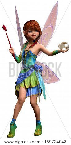 Fairy with wand and crystal ball 3D illustration