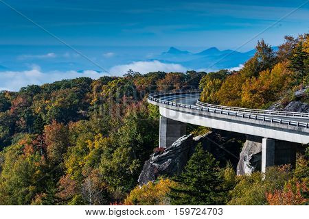 Linn Cove Viaduct Looking Out Over Mountains and Clouds