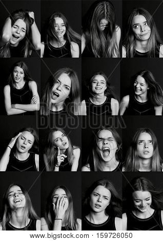 Collage with different types of human emotion. The diversity of their manifestations. Collage