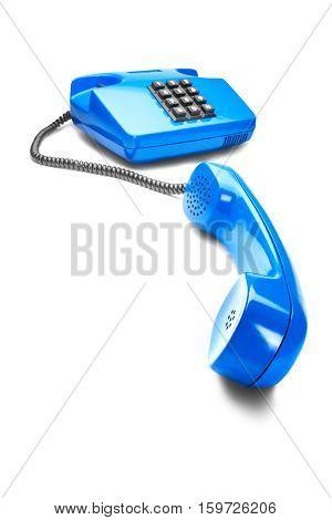 landline phone in blue on isolated white background