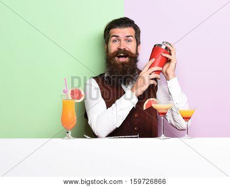 Smiling Handsome Bearded Barman