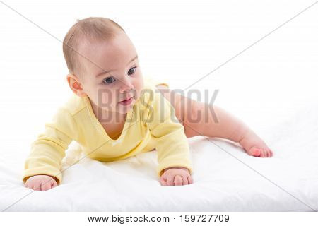 Portrait Of Sweet Baby Isolated On White Background