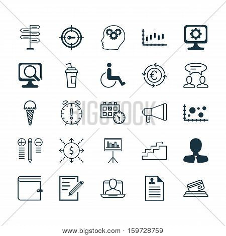 Set Of 25 Universal Editable Icons. Can Be Used For Web, Mobile And App Design. Includes Elements Such As Credit Card, Brain Process, Keyword Marketing And More.