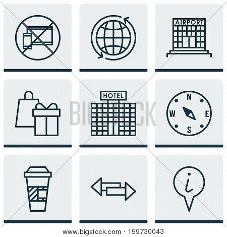 Set Of 9 Transportation Icons. Can Be Used For Web, Mobile, UI And Infographic Design. Includes Elements Such As Airport, Map, Gift And More.