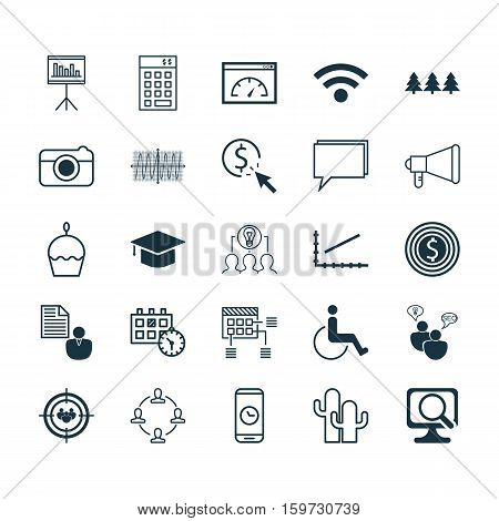 Set Of 25 Universal Editable Icons. Can Be Used For Web, Mobile And App Design. Includes Elements Such As Holiday Ornament, Street, Appointment And More.