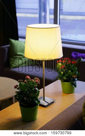 table lamp with lampshade in the lobby
