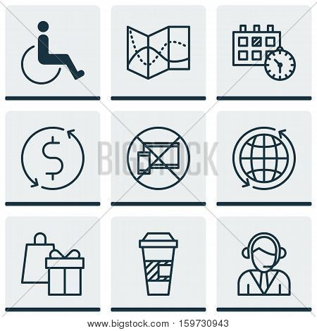 Set Of 9 Airport Icons. Can Be Used For Web, Mobile, UI And Infographic Design. Includes Elements Such As Travel, Calendar, Accessibility And More.