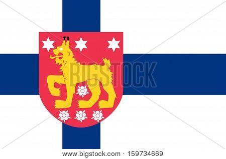 Flag Of Tavastia Proper region in Finland.