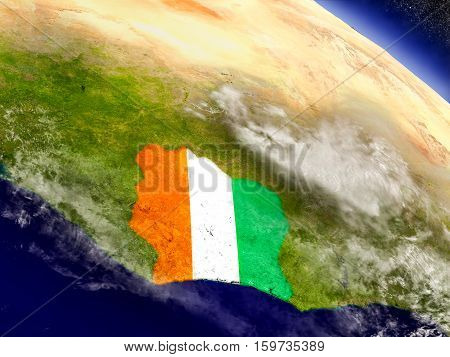 Ivory Coast With Embedded Flag On Earth