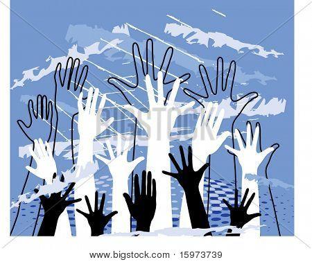 hands grunge vector